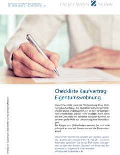 Checkliste Kaufvertrag Eigentumswohnung